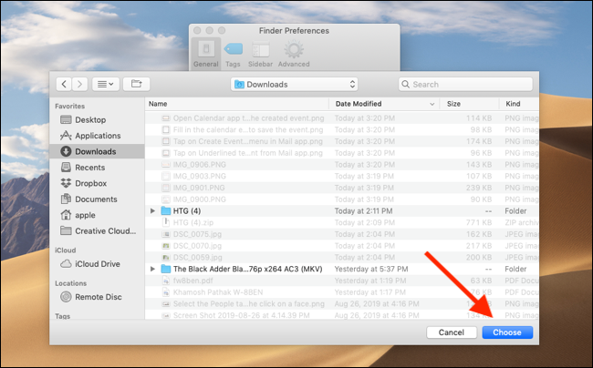 Click on Choose button to choose the selected folder as new default destination