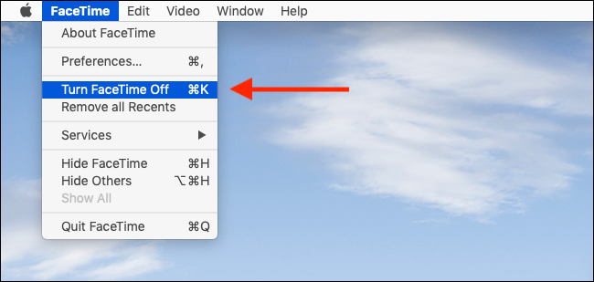 Click on Turn off FaceTime from Menu to quickly disable FaceTime on your Mac