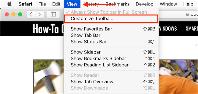 Click on View and then select Customize Toolbar to open toolbar customization panel