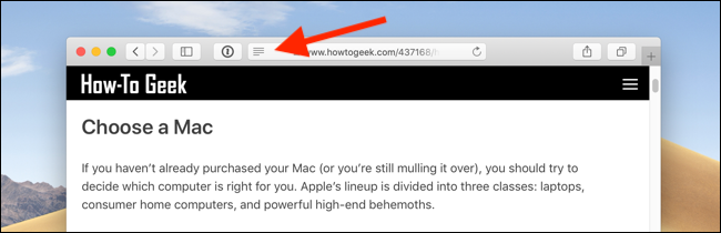 Click on the Reader View icon from the URL bar in Safari on Mac