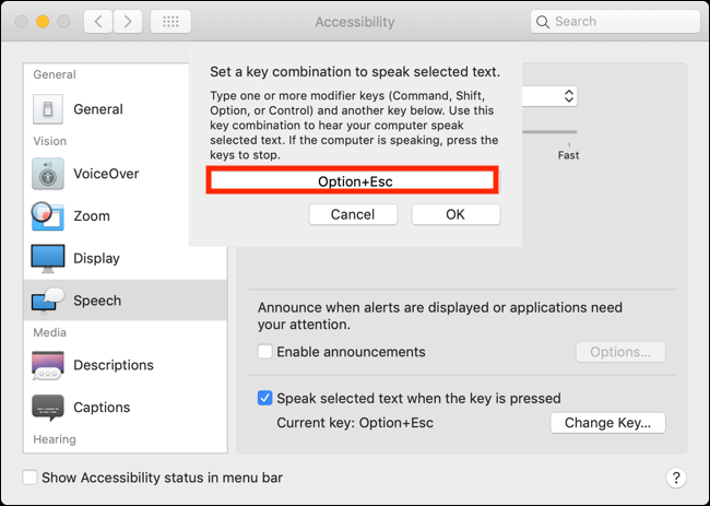 Click the box and press the new key combination to change the keyboard shortcut for Speak Selection feature