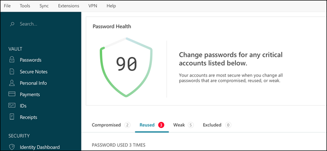 Dashlane interface, showing password health.