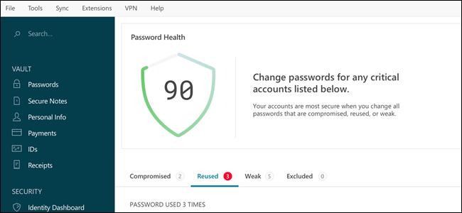 Dashlane interface, showing password health.