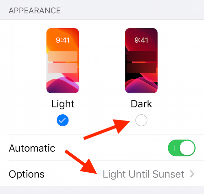 Enable Dark Mode from Settings