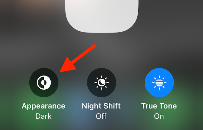 Enable Dark mode from Control Center
