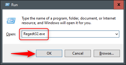 "Type Regedt32.exe and select ""OK."""
