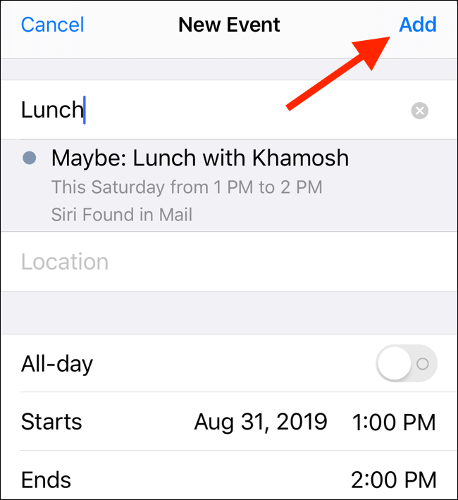 """Edit the event details, and then tap """"Add."""""""