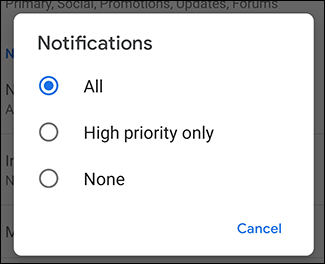 Notifications settings for Gmail account