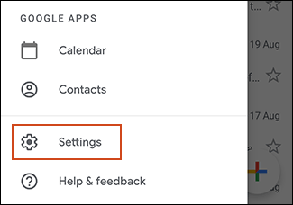 Settings button in Gmail menu