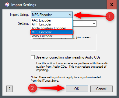 MP3 encoder import