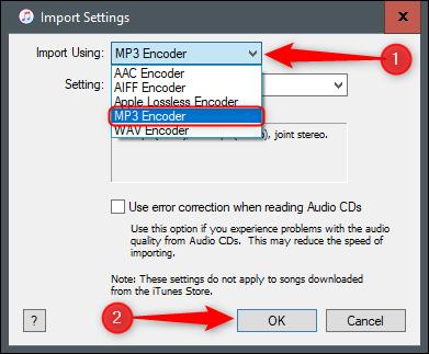 MP3 encoder import