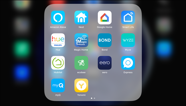An iOS folder showing 14 smarthome apps.
