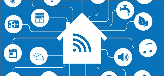 Smarthome automation and Internet of Things (IOT) with icons of a house and appliances connected via Wi-Fi.