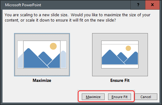 "Click ""Maximize"" or ""Ensure Fit."""