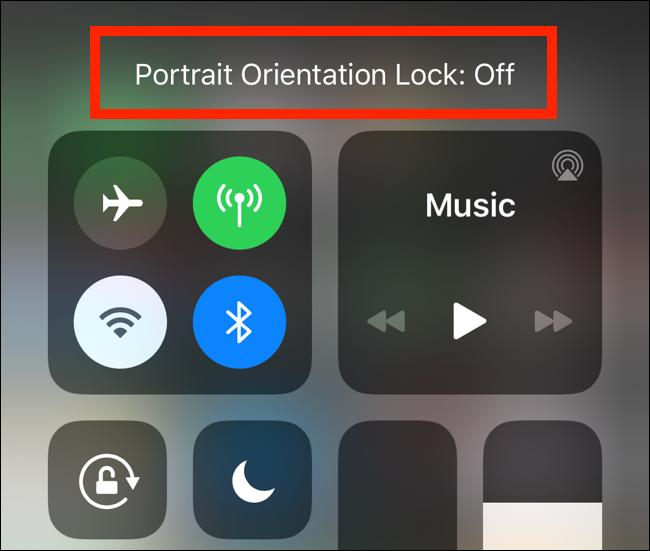 El mensaje de bloqueo de orientación vertical que se muestra en el iPhone