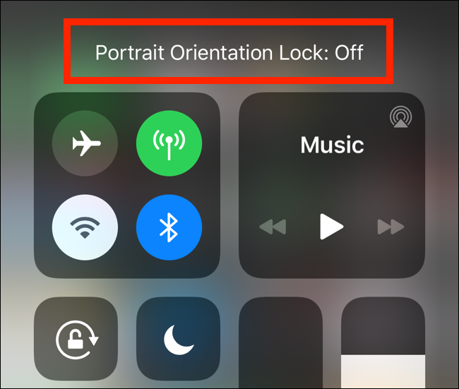 The Portrait Orientation Lock Off message shown on iPhone