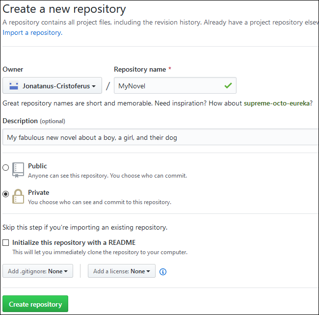 The text form to create a new GitHub repository.