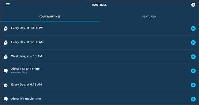 La página de Rutinas de Alexa, con varias rutinas creadas.