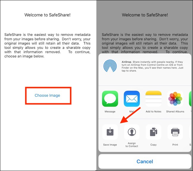 SafeShare app remove metadata and save the image