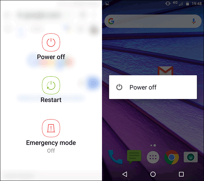 The Power Menu on a Samsung Motorola Android phone.