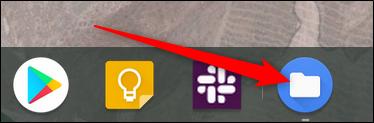 Todas las aplicaciones abiertas se muestran en la estantería.  Para cambiar de escritorio directamente a esa aplicación, haga clic en su icono en la estantería.
