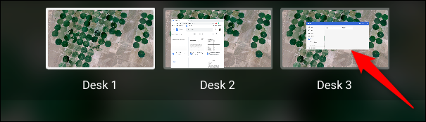 To switch desks, click on one from the Overview mode.