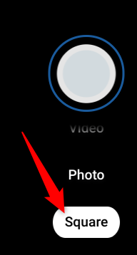 """Click on """"Square"""" to take a square photo instead."""