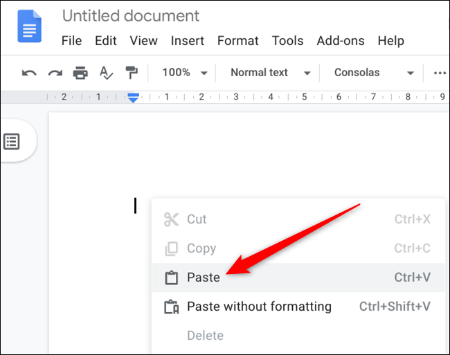 """Go to the document you want to paste the text, right-click, and then click """"Paste."""""""