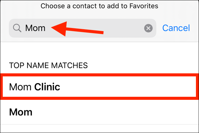 Search for a contact and then select one from the list