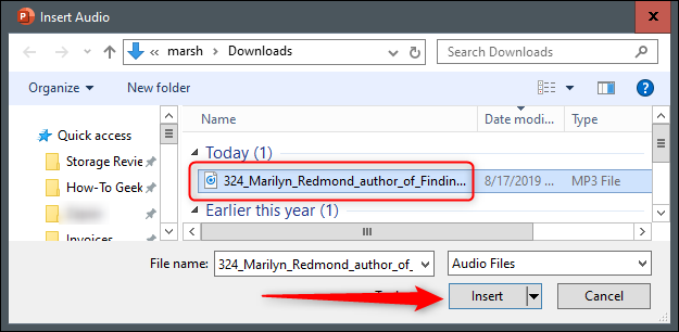Select Podcast to Insert
