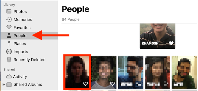 Select the People tab and then click on a face