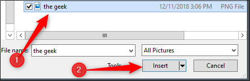 Selecting the picture from File Explorer