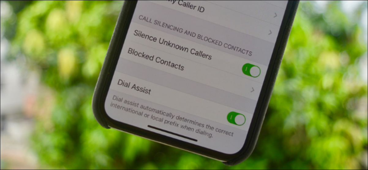 The Silence Unknown Callers Toggle in Settings App