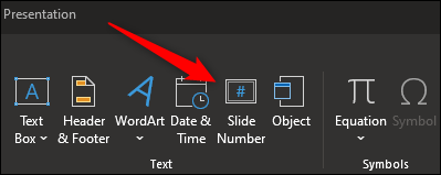 Slide number option in text group