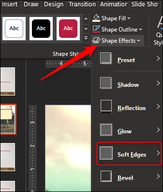 """Click """"Shape Effects,"""" and then select """"Soft Edges"""" from the drop-down menu."""