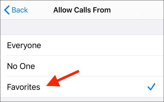 Switch to Favorites to allow calls from your Favorites list