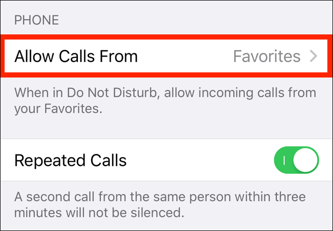 Tap on Allow Calls From option in Do Not Disturb section