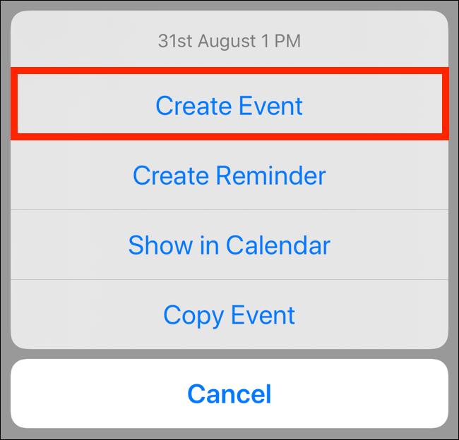 "Tap ""Create Event."""