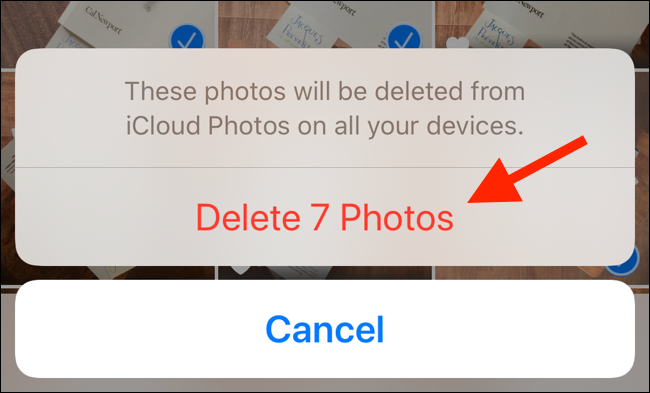 Tap on Delete Photos button to confirm