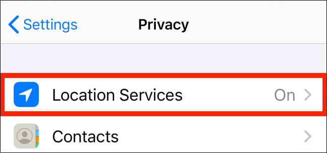 Tap on Location Services from Privacy app