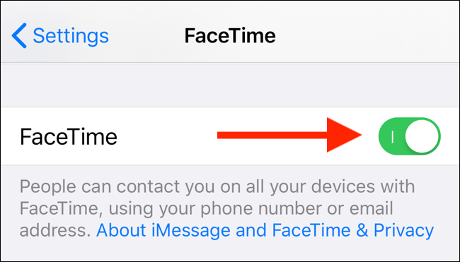 Tap on the FaceTime toggle to disable FaceTime on your iPhone or iPad