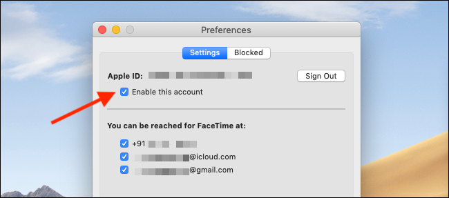 Uncheck the Enable This Account button in FaceTime Preferences to disable FaceTime on a Mac