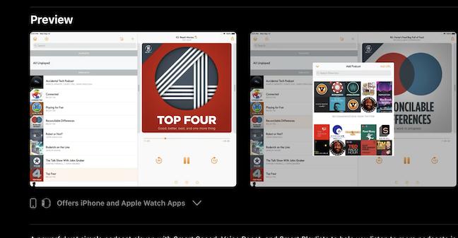 Overcast iPad App Store Screenshot