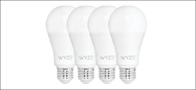 Four Wyze bulbs in a row