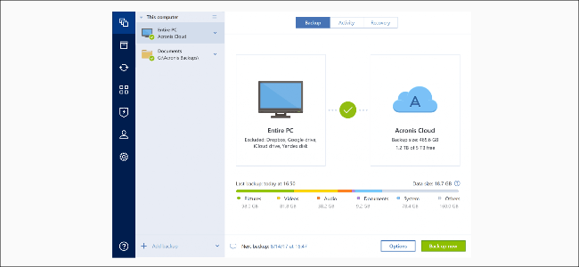 The Acronis backup menu.