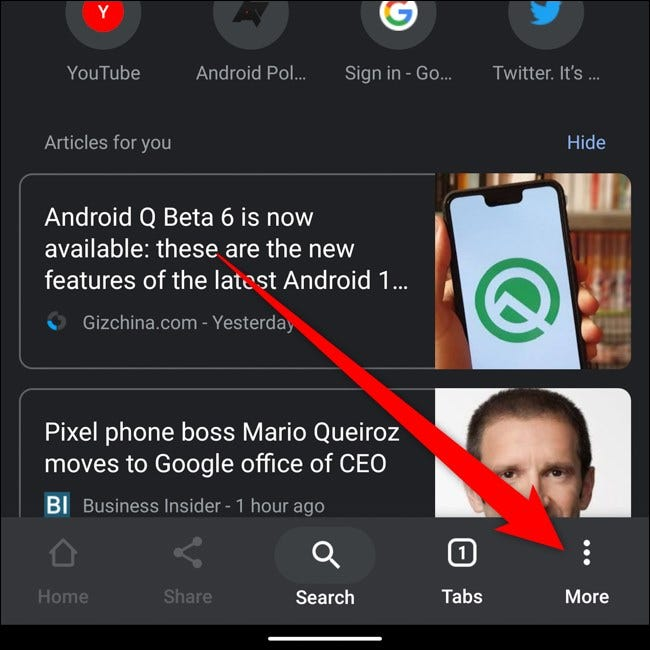 Android Google Chrome Tap Three Dots