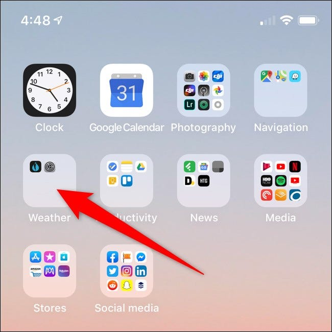 Apple iPhone Open Folder