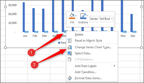 Change the chart type of a data series