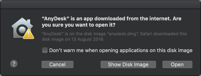 A macOS GateKeeper alert, asking if you're sure you want to open a third-party app.