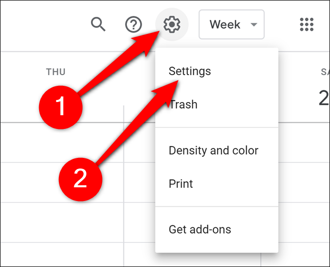 Google Calendar Click Gear and Settings